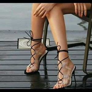 ZARA Clear Criss-Cross Tie up Heels